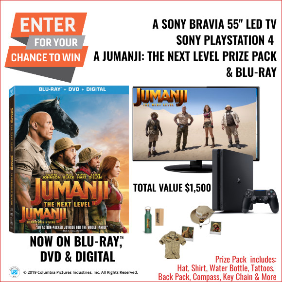 "Enter for your chance to win Jumanji: The Next Level Sony 55"" LED TV & Playstation 4 Contest"