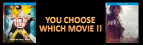 """Enter for a chance to win your choice of Blu-ray movie """"KUNG FU LEAGUE"""" or """"THE FIRST KING"""" Banner"""