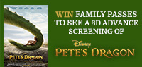 Win 3D Advance Screening Family Passes to see Pete's Dragon