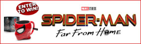 """Enter for your chance to win a """"SPIDER-MAN FAR FROM HOME Blu-ray & Prize Pack"""" Banner"""