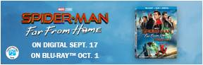 """Enter for your chance to win a 55"""" SONY LED TV and """"SPIDER-MAN: FAR FROM HOME"""" on Blu-ray. On Digital Sept. 17, On Blu-ray Oct. 1. Total Prize Value $1300 Banner"""