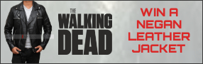 "Enter for your chance to win as ""THE WALKING DEAD NEGAN LEATHER JACKET"". Value $249 Banner"