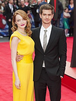 Andrew Garfield and Emma Stone at the Amazing Spider-Man 2 premiere in London
