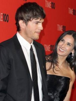 Ashton Kutcher with ex Demi Moore