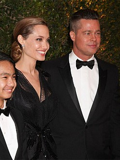 Brad Pitt, Angelina Jolie and their son Maddox