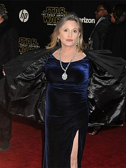 Carrie Fisher at the Star Wars: The Force Awakens premiere