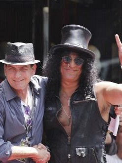 Charlie Sheen and Slash at the Hollywood Walk of Fame ceremony