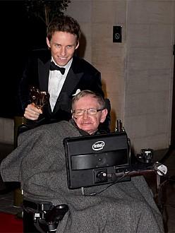 Eddie Redmayne and Stephen Hawking at the BAFTAs