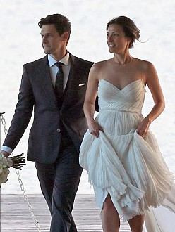 Justin Bartha and Lia Smith at their wedding