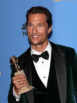 Matthew McConaughey with his Golden Globe award