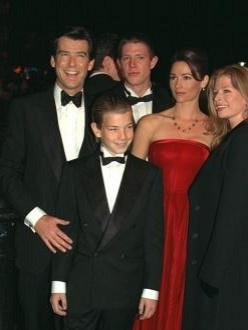 Pierce Brosnan with his family, including Charlotte (R) in 1995