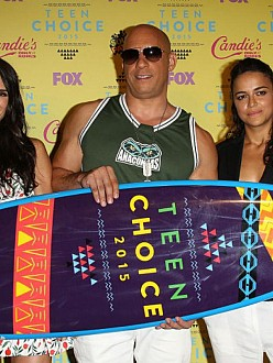 Vin Diesel alongside Jordana Brewster and Michelle Rodriguez
