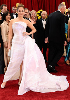 Jennifer Lopez in a stunning strapless white gown