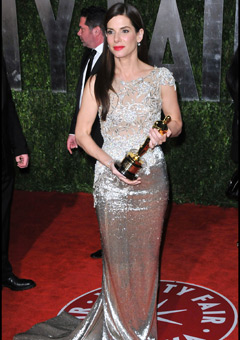 Sandra Bullock wore a champagne-colored fitted gown