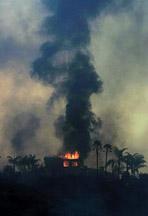 Fire blazes in San Diego