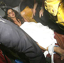 Britney strapped to a gurney in ambulance