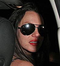 Britney Spears in her car outside a nightclub
