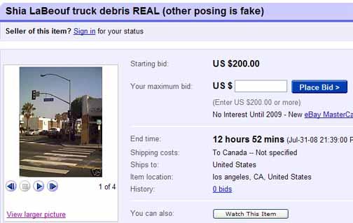 Shia LaBeouf truck debris ebay listing