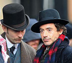 Jude Law & Robert Downey Jr. on the set of Sherlock Holmes
