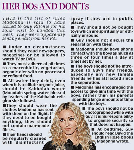 Madonna's visitation rules