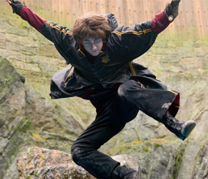 Daniel Radcliffe performing a stunt in a previous Harry Potter film