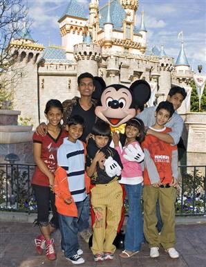 Slumdog actors at Disneyland