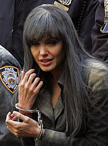Angelina Jolie on Salt set in New York City