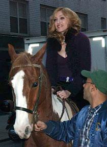 Madonna riding a horse