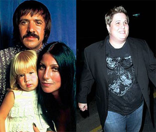 Chastity Bono left, with parents Sonny and Cher; Right: 2009