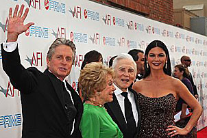 Michael Douglas & Catherine Zeta-Jones with Kirk & Anne Douglas at the 37th AFI Life Achievement Award Gala