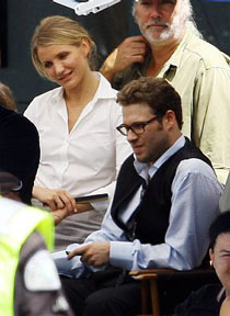 Cameron Diaz and Seth Rogen on the set of The Green Hornet