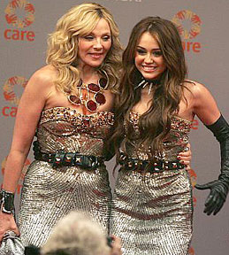 Kim Cattrall and Miley Cyrus