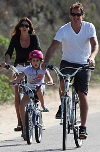Cindy Crawford on a bike ride with her daughter and husband