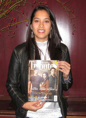 Stephanie Gobin holds the latest issue of Tribute featuring New Moon