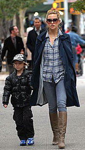 Kate Hudson with son Ryder in New York