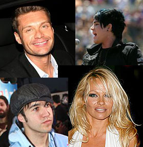 Ryan Seacrest, Adam Lambert, Pamela Anderson, Pete Wentz