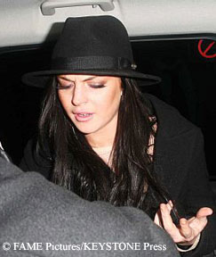 Lindsay Lohan looking disoriented while leaving a club