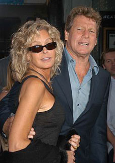 Ryan O'Neal and Farrah Fawcett in 2003