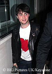 Daniel Radcliffe arriving at a Harry Potter cast party in London