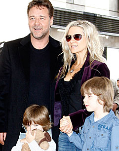 Russell Crowe with his family on Hollywood Boulevard