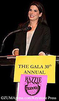 Sandra Bullock at the Razzie awards