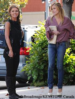 Audrina Patridge (L) and Kristin Cavallari (R) filming The Hills