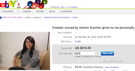 Alleged Ashton Kutcher mistress puts his sweater on eBay
