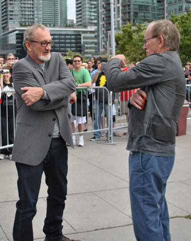 Robert Englund and Lance Henrikson ham it up for the cameras