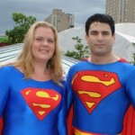 Supergirl and Superman outside the Convention Centre
