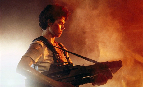 As the commanding officer of a spaceship in Alien, Sigourney Weaver takes on a seemingly indestructable alien creature alone, after her crew is gone.