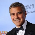 George Clooney and his Golden Globe for Best Actor in a Drama for The Descendants