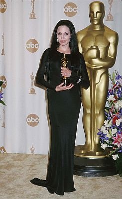 Angelina Jolie looked more like a goth queen than a Hollywood starlet when she picked up her award for Best Supporting Actress at the 72nd Academy Awards in 2000. We wonder if Donatella Versace designed Morticia Adams's wardrobe too. Photo: ©ABACA USA/EMPICS Entertainment/KEYSTONE Press