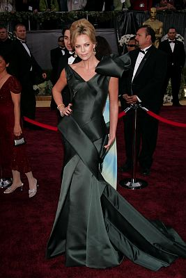 Charlize Theron went with a satin Dior By John Galliano gown for the 2006 Oscars. Between the layered pieces and the giant bow on the shoulder, this was a definite miss. Photo: ©Lisa O'Connor/KPA-ZUMA/KEYSTONE Press
