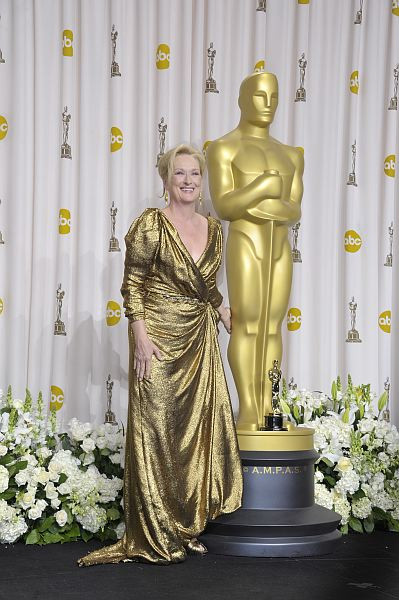 Meryl Streep may have picked up the award for Best Actress at this year's Academy Awards for her portrayal of Margaret Thatcher in The Iron Lady. But we're not so sure her Lanvin ensemble was as praiseworthy. The all-over metallic color, paired with the draping style, made Streep look like she belonged on the top […]
